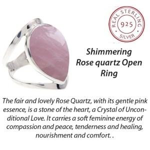 Wide Style Tear Shaped-Rose quartz
