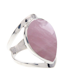 Wide Style Tear Shaped-Rose quartz